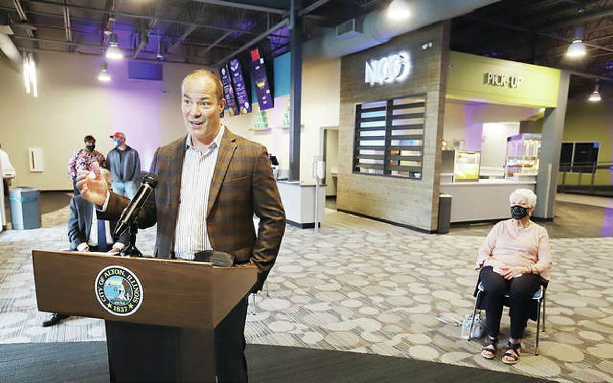 NCG CEO Jeff Geiger on Tuesday talks to a live-streamed audience from the lobby of the movie chain's newest theater, an eight-screen state-of-the-art theater in the Alton Square Mall. Along with the usual cinema treats the Alton theater will serve beer and wine.
