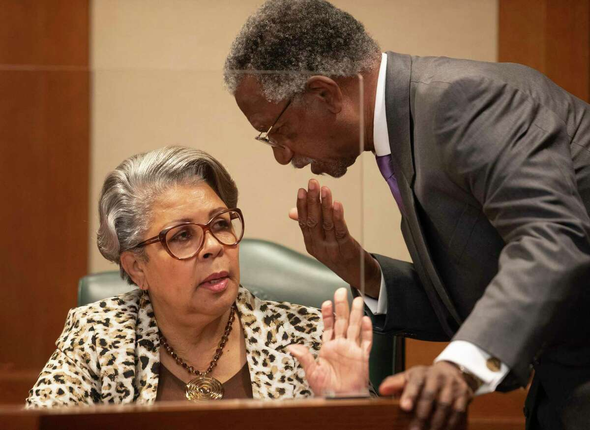 State Rep. Senfronia Thompson, D - Houston, talks to State Rep. Harold Dutton, D - Houston, during a hearing about the George Floyd Act at the Texas House Committee on Homeland Security and Public Safety at the Capitol in Austin, Texas, on Thursday March 25, 2021. Lawmakers in Texas are taking up a sweeping police reform package, authored by Thompson, named in honor of longtime Houston resident George Floyd.