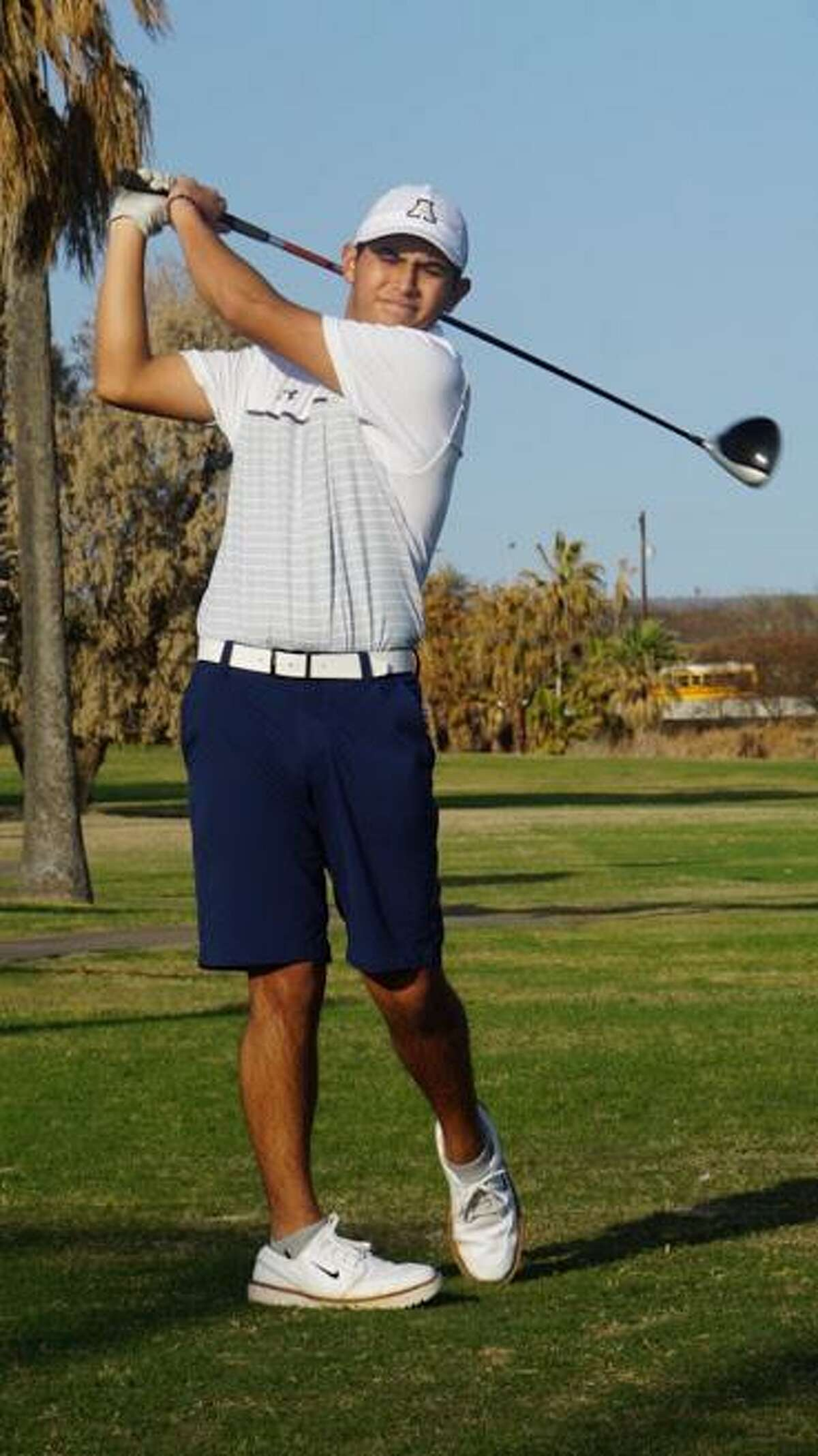 Alexander senior Omar Cantu is tied for the individual lead after the opening round of the District 30-6A to help the Bulldogs' Gold team sit in first place heading into Thursday's final round at the Max A. Mandel Municipal Golf Course.