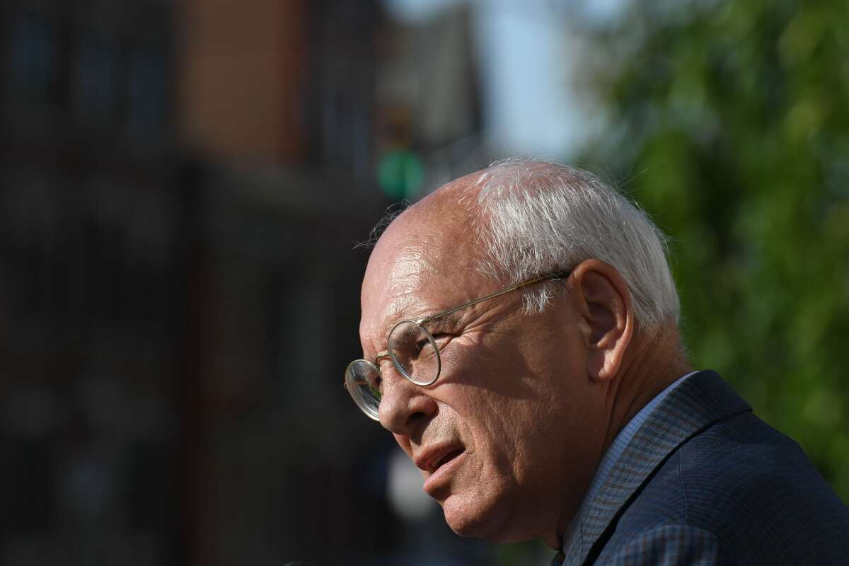 U.S. Rep. Paul Tonko speaks during a vigil held outside Schenectady City Hall to pay tribute to the victims of the mass shootings in El Paso, Texas, and Dayton, Ohio on Friday afternoon, Aug. 9, 2019, in Schenectady, N.Y. (Will Waldron/Times Union)