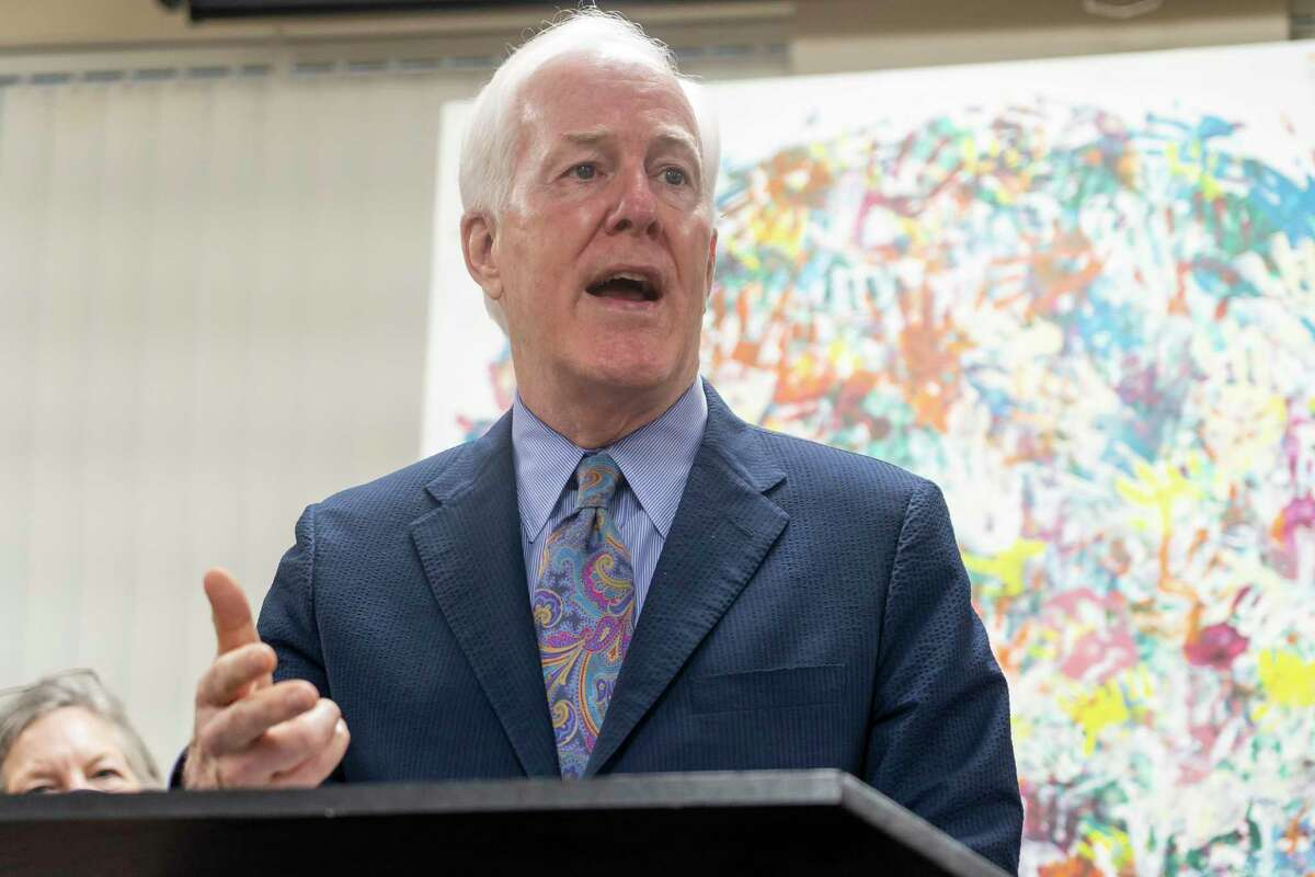 Senator John Cornyn addresses the media following a roundtable discussion about immigration and unaccompanied minors, Tuesday, March 30, 2021, at Catholic Charities of the Archdiocese of Galveston-Houston.
