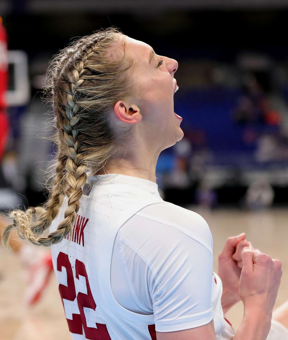 SAN ANTONIO, TEXAS - MARCH 30: Cameron Brink #22 of the Stanford Cardinal reacts during the first half against the Louisville Cardinals in the Elite Eight round of the NCAA Women's Basketball Tournament at the Alamodome on March 30, 2021 in San Antonio, Texas. (Photo by Carmen Mandato/Getty Images)