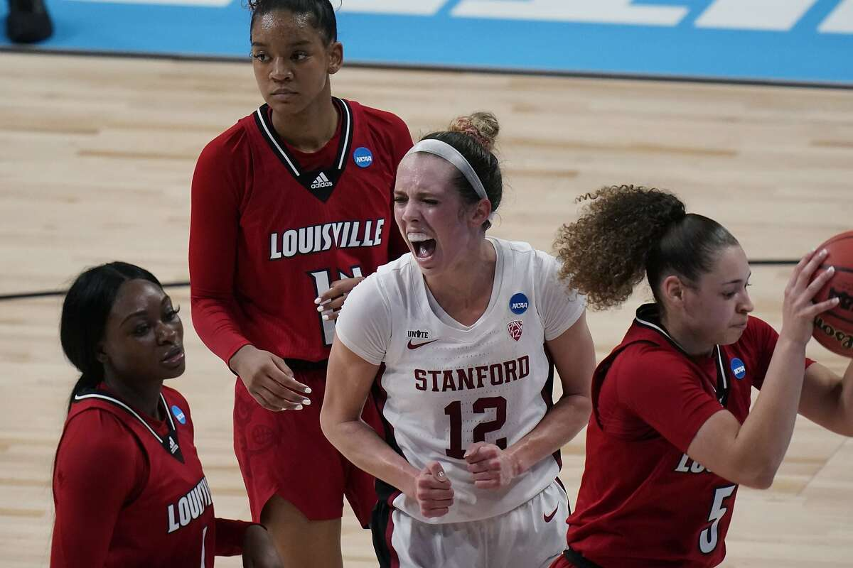 Stanford guard Lexie Hull (12) reacts after scoring against Louisville during the first half of a college basketball game in the Elite Eight round of the women's NCAA tournament at the Alamodome in San Antonio, Tuesday, March 30, 2021. (AP Photo/Eric Gay)