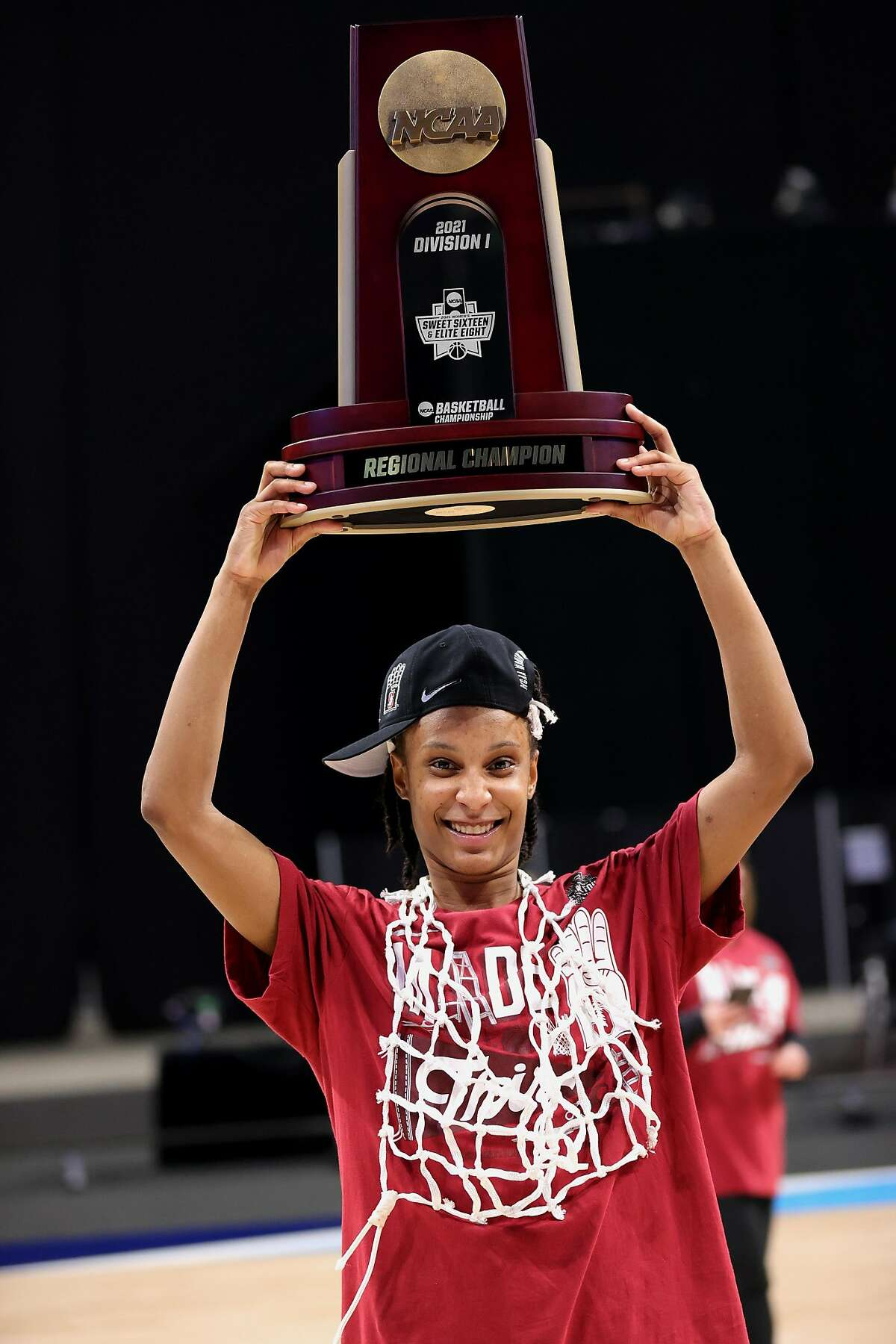 SAN ANTONIO, TEXAS - MARCH 30: Kiana Williams #23 of the Stanford Cardinal celebrates their win over the Louisville Cardinals in the Elite Eight round of the NCAA Women's Basketball Tournament at the Alamodome on March 30, 2021 in San Antonio, Texas. (Photo by Carmen Mandato/Getty Images)