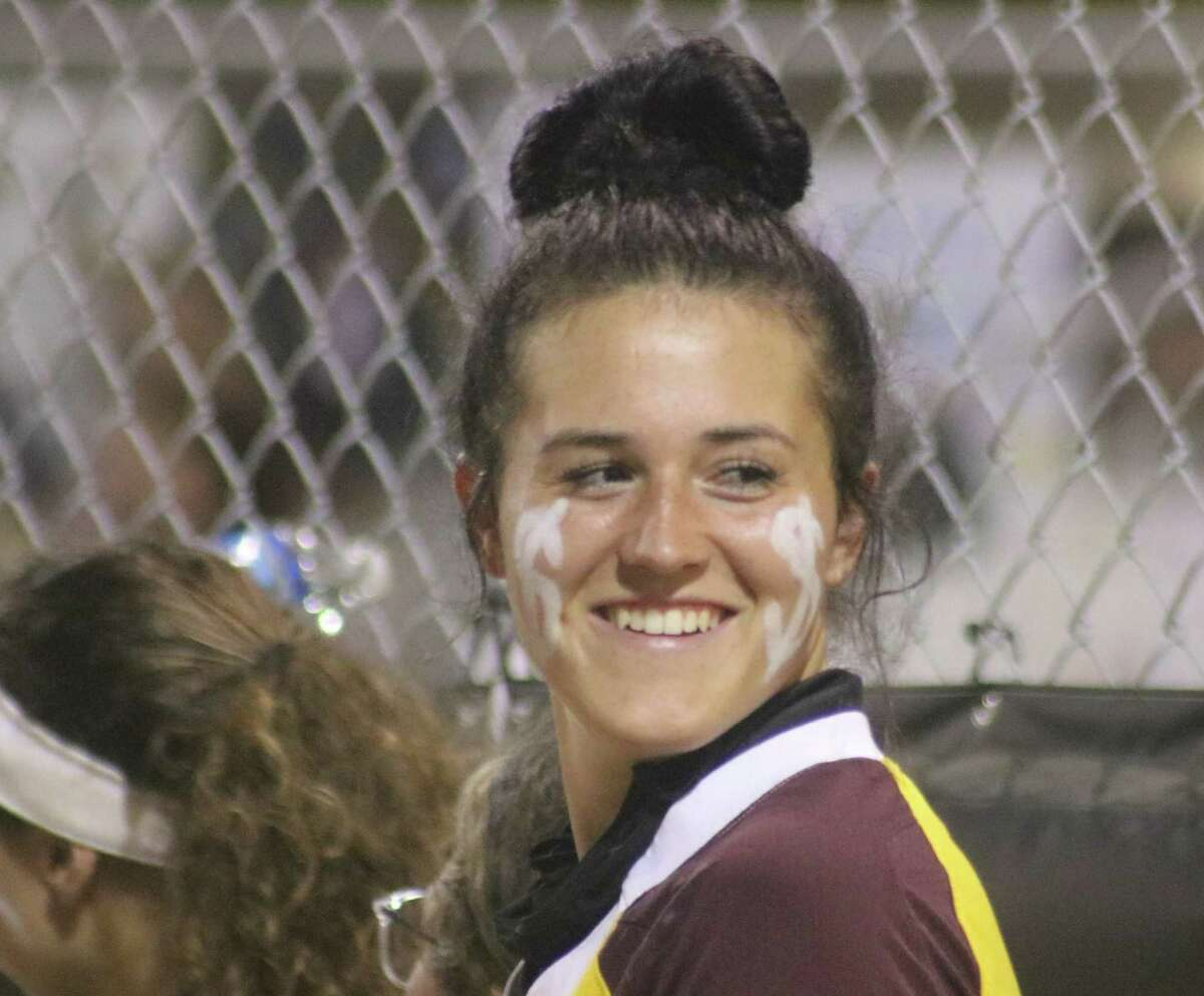 Deer Park's Madison Applebe was all smiles Tuesday night as she struck out 12 and contributed a two-RBI single in the 3-1 victory.