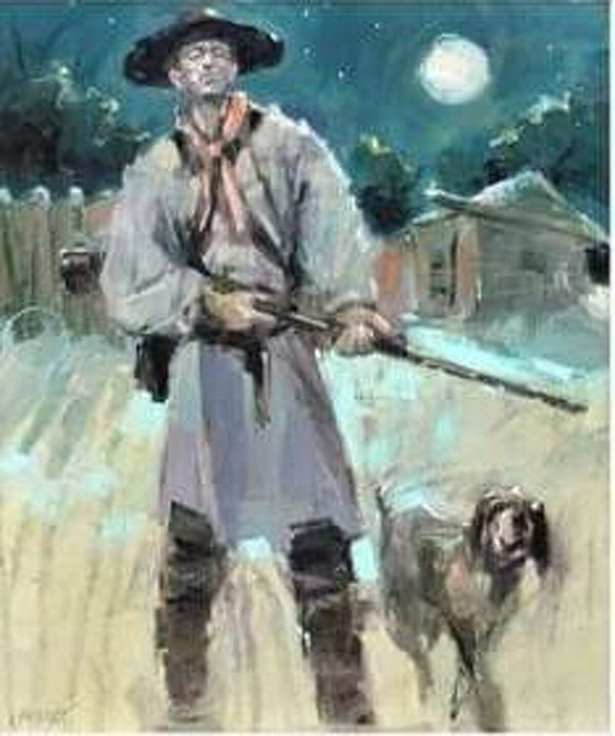 """""""Nightwatch,"""" an original 20-by-24-inch oil painting by Granite City artist Lon Brauer, will be raffled off during the located. A raffle for the artwork, valued at $3,200, will be offered during the Camp du Bois Trade Faire April 10-11 at 198 N. Main St., Wood River, near the Lewis and Clark State Historic Site."""