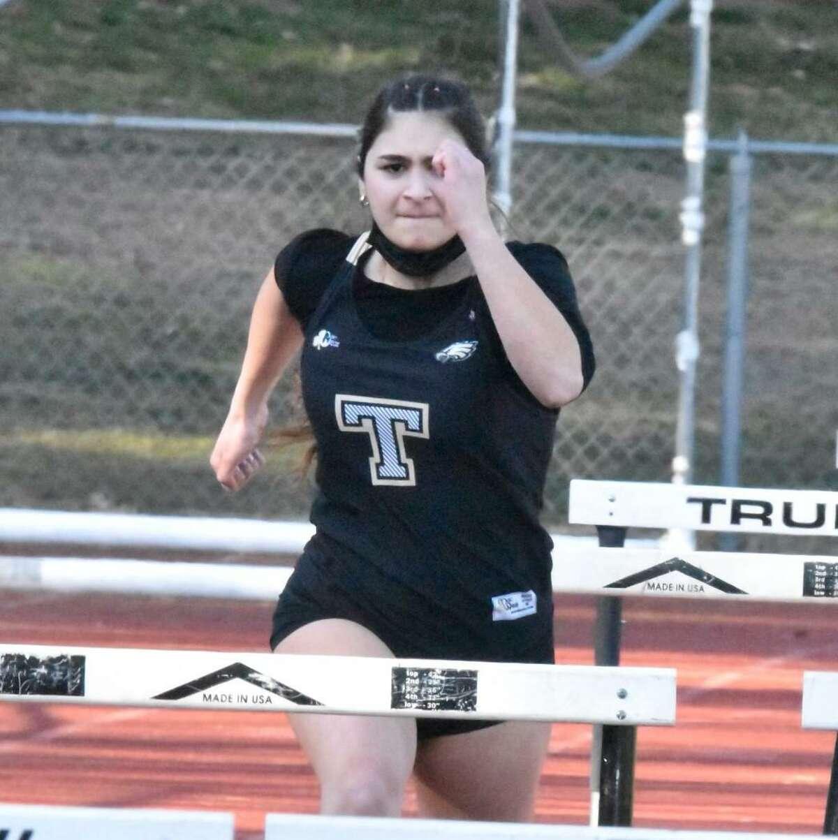 Junior Celine Bozukluian was a standout in the 55-meter hurdles for Trumbull indoor track.