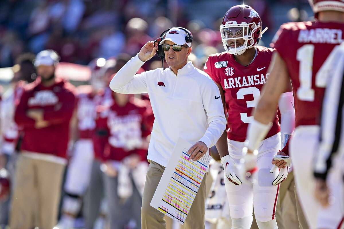 FAYETTEVILLE, AR - NOVEMBER 9: Head Coach Chad Morris of the Arkansas Razorbacks on the sidelines during a game against the Western Kentucky Hilltoppers at Razorback Stadium on November 9, 2019 in Fayetteville, Arkansas. The Hilltoppers defeated the Razorbacks 45-19. (Photo by Wesley Hitt/Getty Images)