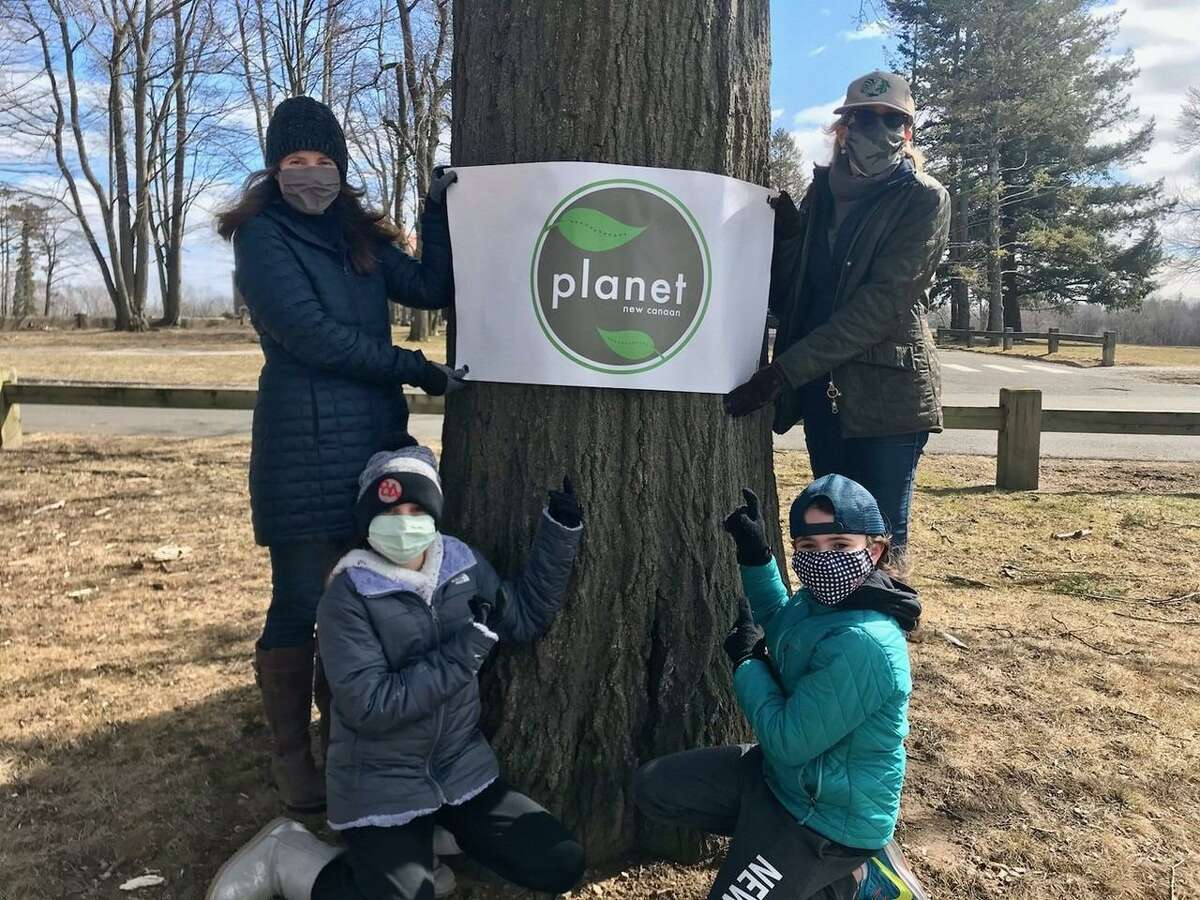 Planet New Canaan has launched a fundraising campaign for the purchase of native trees for the Town of New Canaan. The trees will help to replace the loss of many old, and beautiful trees in the town's crown jewel, Waveny Park, which is located at 677 South Ave. in New Canaan. Top row: left to right are: Heather Boulanger, and Stephanie Ladd. Bottom row: left to right are: Devin Boulanger, and Ellie Whinery.