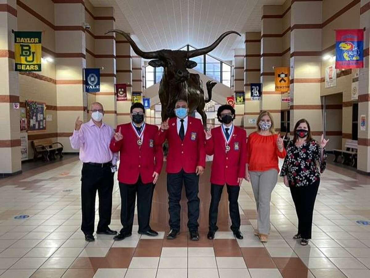 United recently had the top three finishers at the Skills USA Automotive Service Technology Competition for District 12. Pictured are Sam Sanchez (CTE Coordinator), Jose Parra (2nd place), Juan Mendoza(Automotive Technology Teacher), John Baker (1st place), Maria Isabella Alarcon (UHS Magnet Dean), and Angie Sanchez (UISD CTE Director).