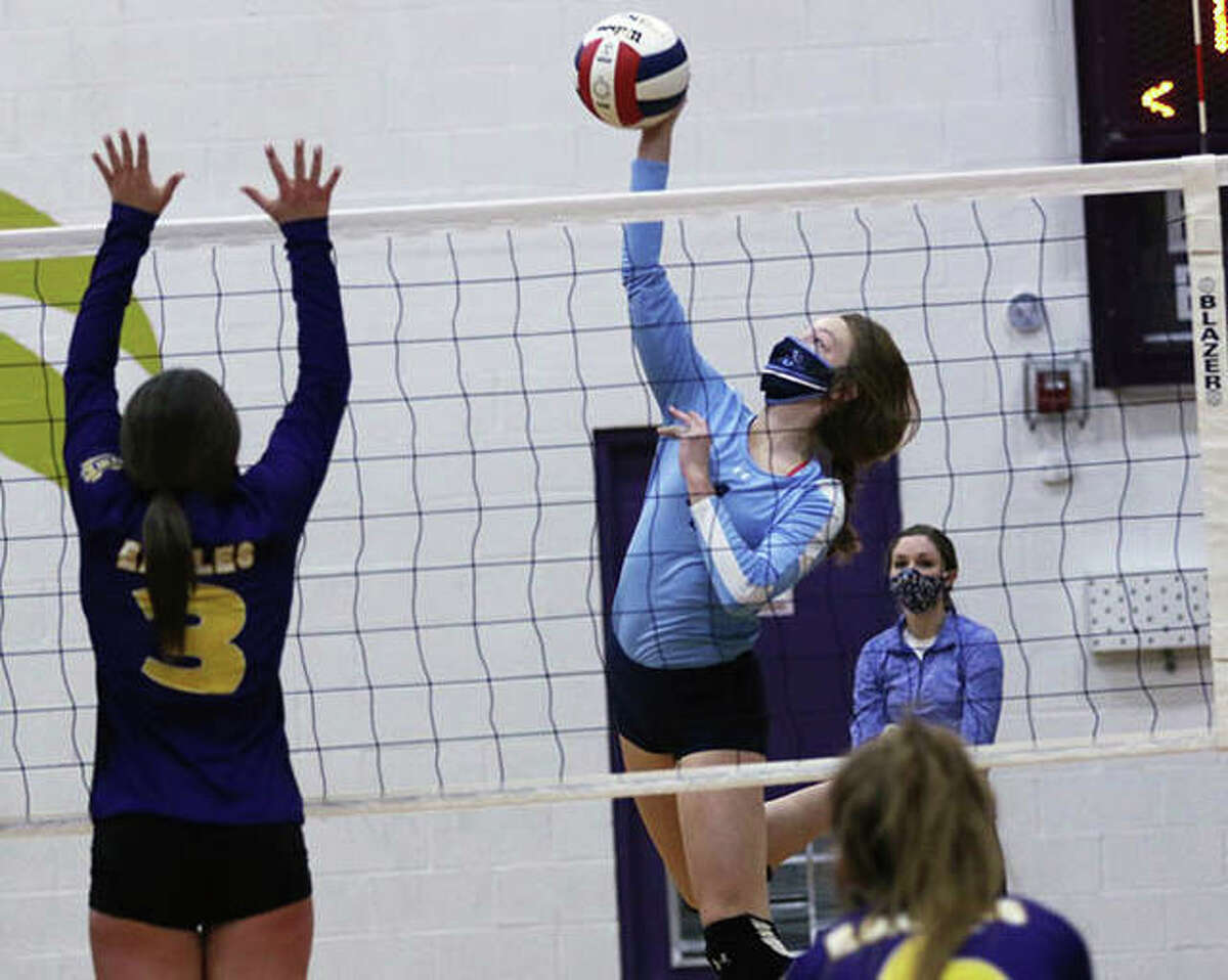 Jersey's Kari Krueger led the Panthers with four kills Tuesday night in a loss to Highland at Jerseyville.