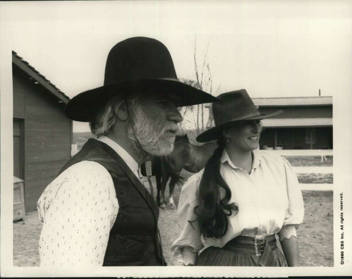 """Television Shows """"L"""". Tommy Lee and Anjelica Huston star in Lonesome Dove, the Peabody and multiple Emmy award-winning eight-hour mini-series to be rebroadcast in four parts, Sunday, January 20, Tuesday, January 22, Wednesday, January 23 and Thursday, January 24. (9:00-11:00 PM, ET/PT, each night) on the Columbia Broadcasting System Television Network."""