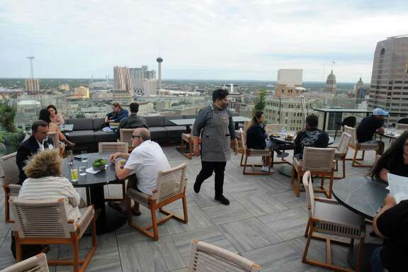 The Moon's Daughters, which towers 20 floors above the city in the new Thompson San Antonio hotel, boasts a stunning view of the city's skyline.