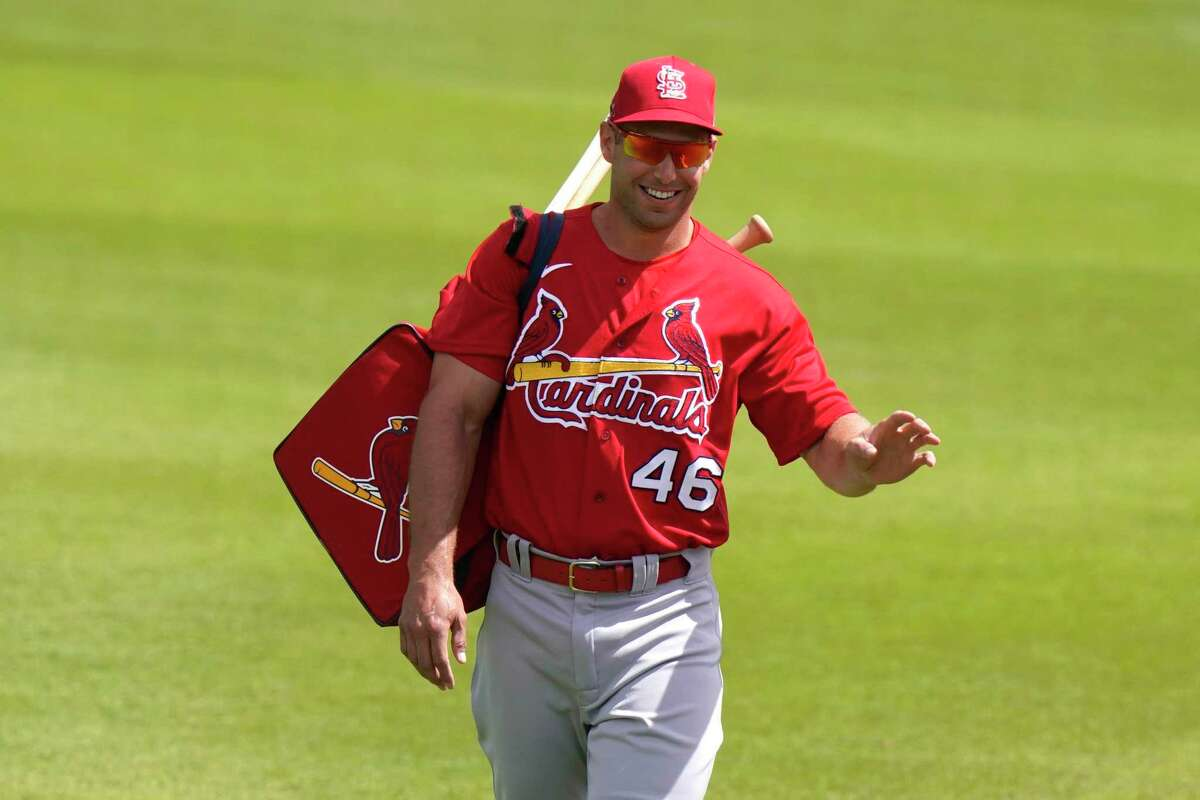 St. Louis Cardinals first baseman Paul Goldschmidt (46) walks to the dugout before a spring training baseball game against the Washington Nationals, Wednesday, March 10, 2021, in West Palm Beach, Fla. (AP Photo/Lynne Sladky)