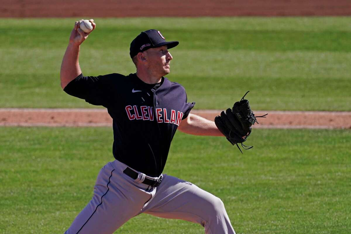 Cleveland Indians pitcher Trevor Stephan throws during the fifth inning of a spring training baseball game Tuesday, March 2, 2021, in Peoria, Ariz. (AP Photo/Charlie Riedel)