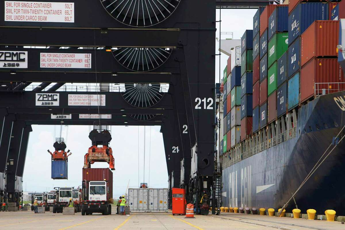 The Greater Houston Port Bureau will host a webinar Thursday. Cargo moves through the Bayport container terminal along the Houston Ship Channel.