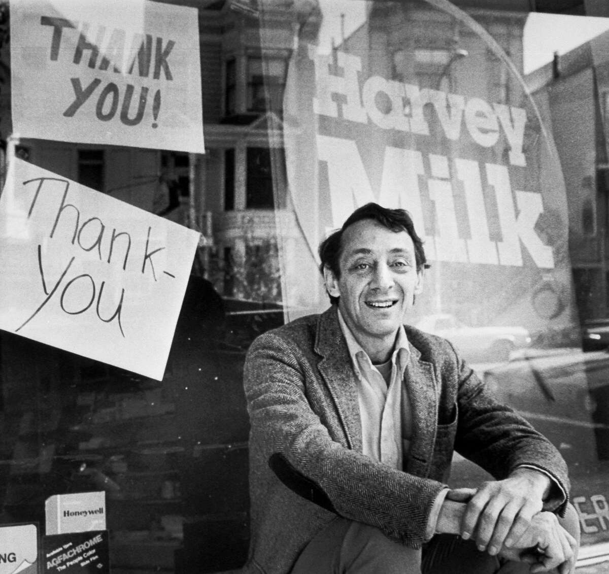 Harvey Milk sits outside his camera shop in The Castro in a Nov. 9, 1977 photo. California Gov. Gavin Newsom proclaimed May 22 to be Harvey Milk Day, honoring the late San Francisco supervisor and civil rights icon who was killed in 1978.