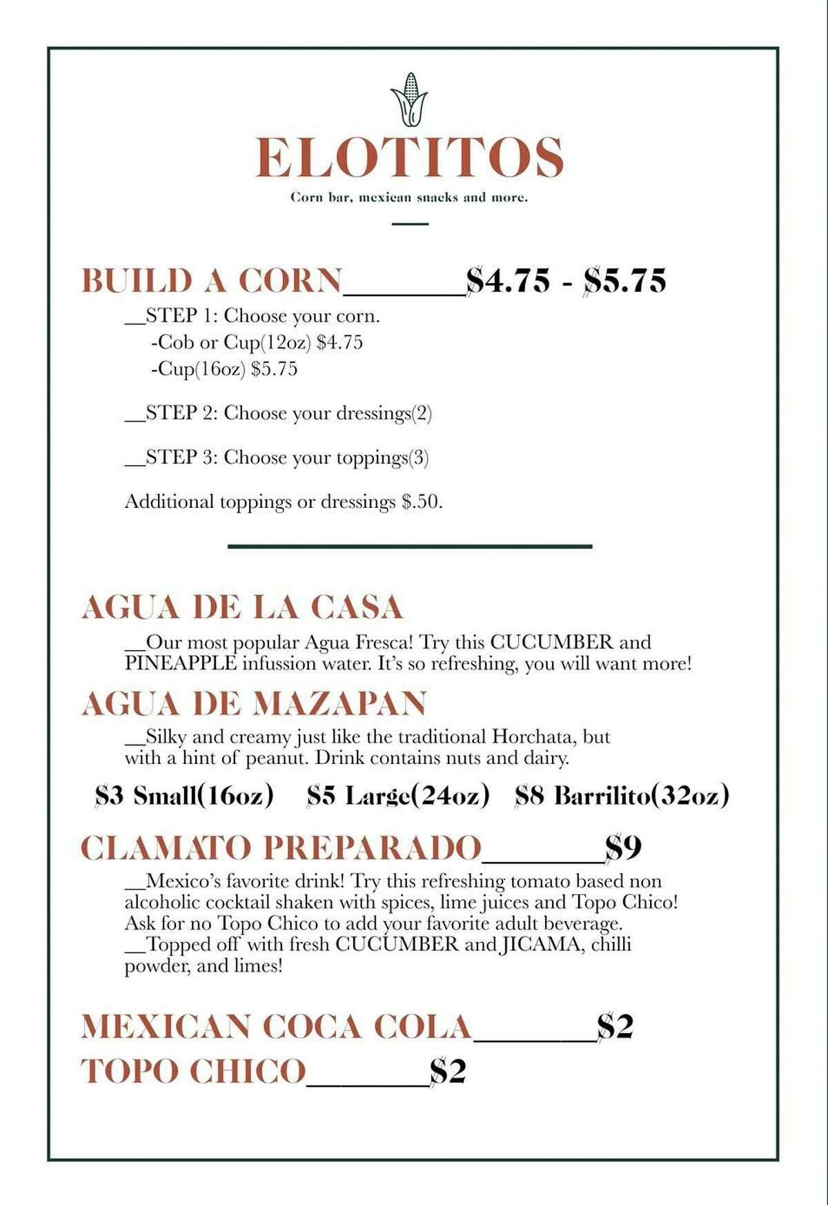 The menu at Elotitos Corn Bar