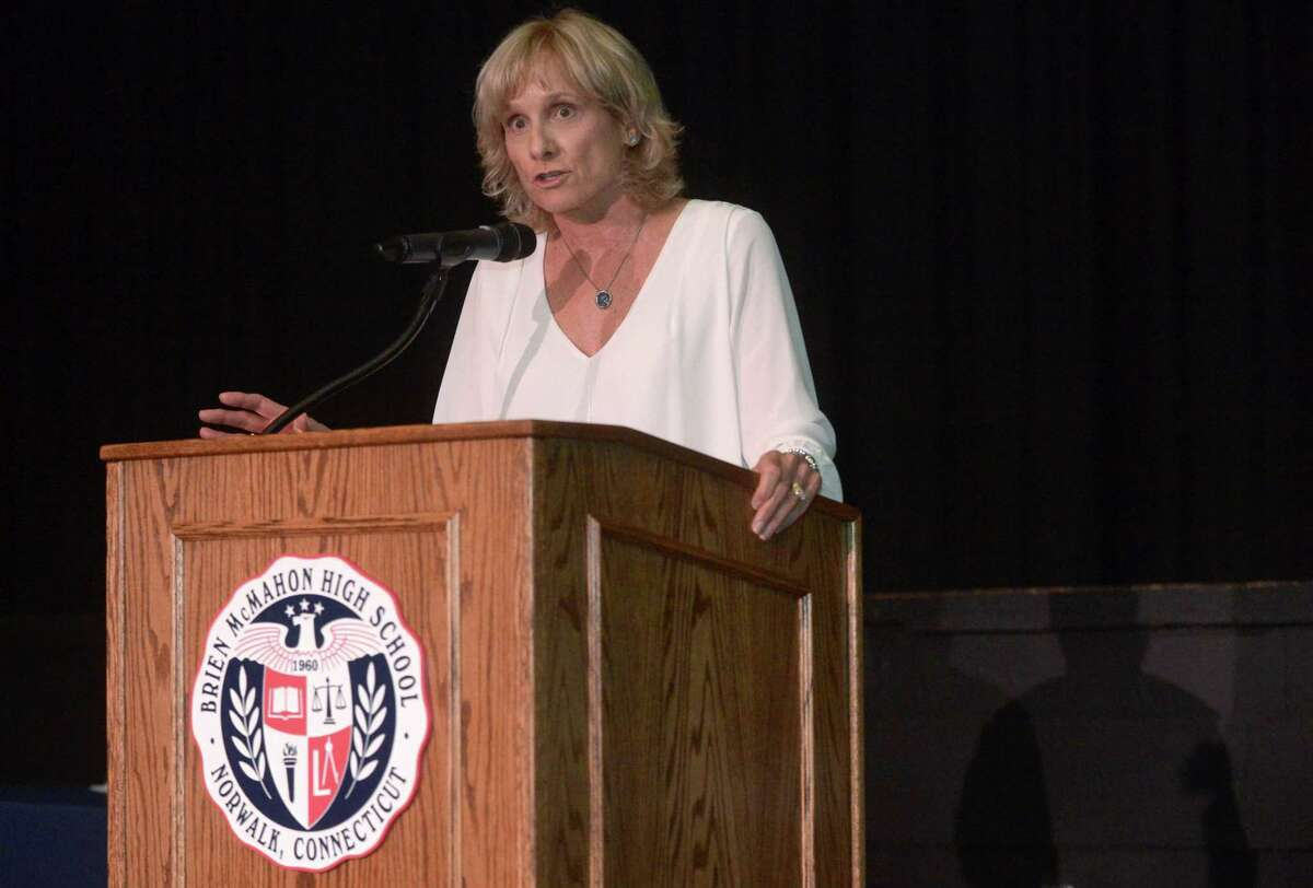 The Brien McMahon High School principal Suzanne Brown-Koroshetz opens with her remarks during the BMHS Senior Scholarship Awards Ceremony for the Class of 2017 Thursday, June 1, 2017, in the James Forcellina Auditorium at the school in Norwalk, Conn.