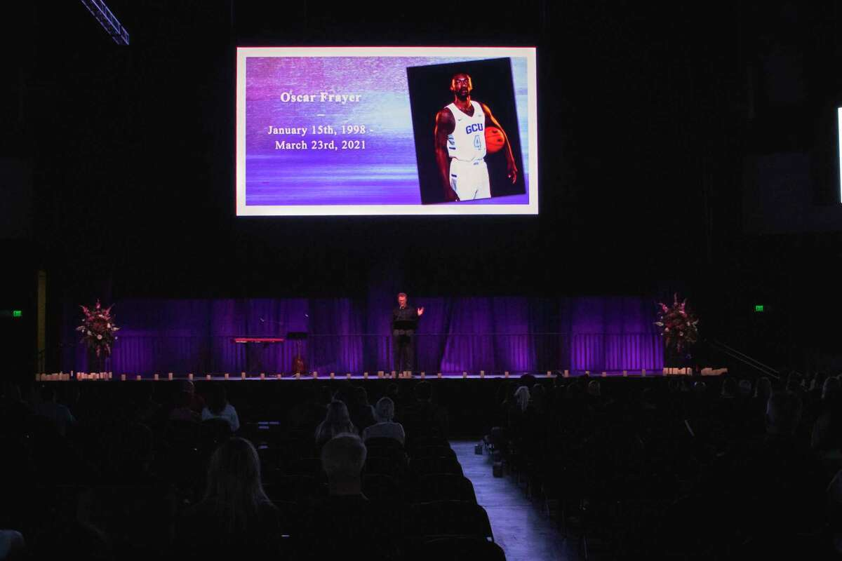 """Grand Canyon University Dean of Students and campus pastor Tim Griffin speaks at Tuesday's """"Celebration of Life"""" for Oscar Frayer. The Phoenix school came together to remember Frayer, a 23-year-old Oakland native who was one of three people killed in a fiery crash on I-5 near Lodi on March 23."""