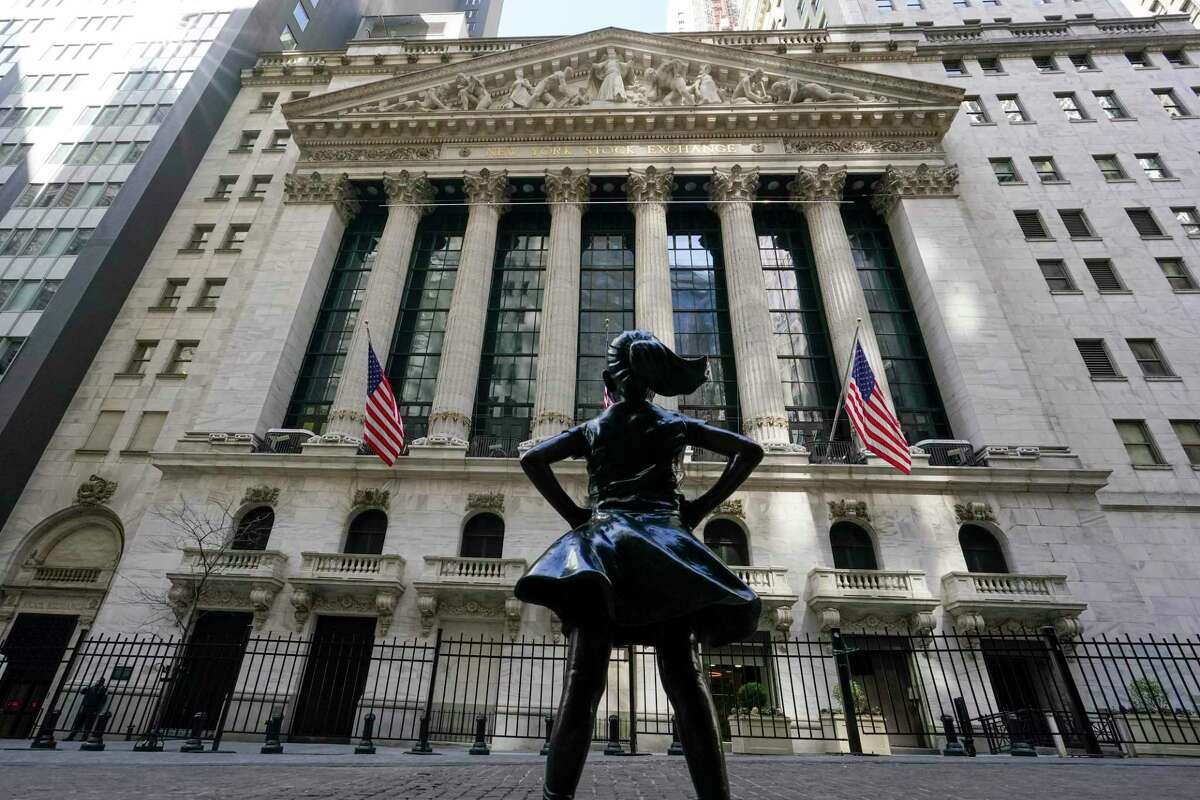 The Fearless Girl statue stands in front of the New York Stock Exchange in New York's Financial District.