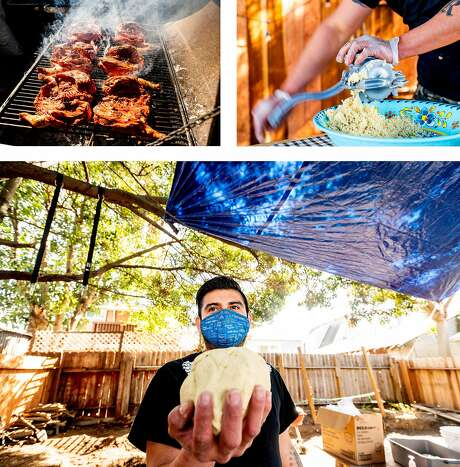Top left: Smoke wafts from grilled achiote chicken. Top right: Luis Cach of pop-up La Casita Yuca grinds corn to make masa for tortillas. Above: Arcadio Cach of pop-up La Casita Yuca holds a ball of masa for corn tortillas. Photo: Noah Berger / Special To The Chronicle