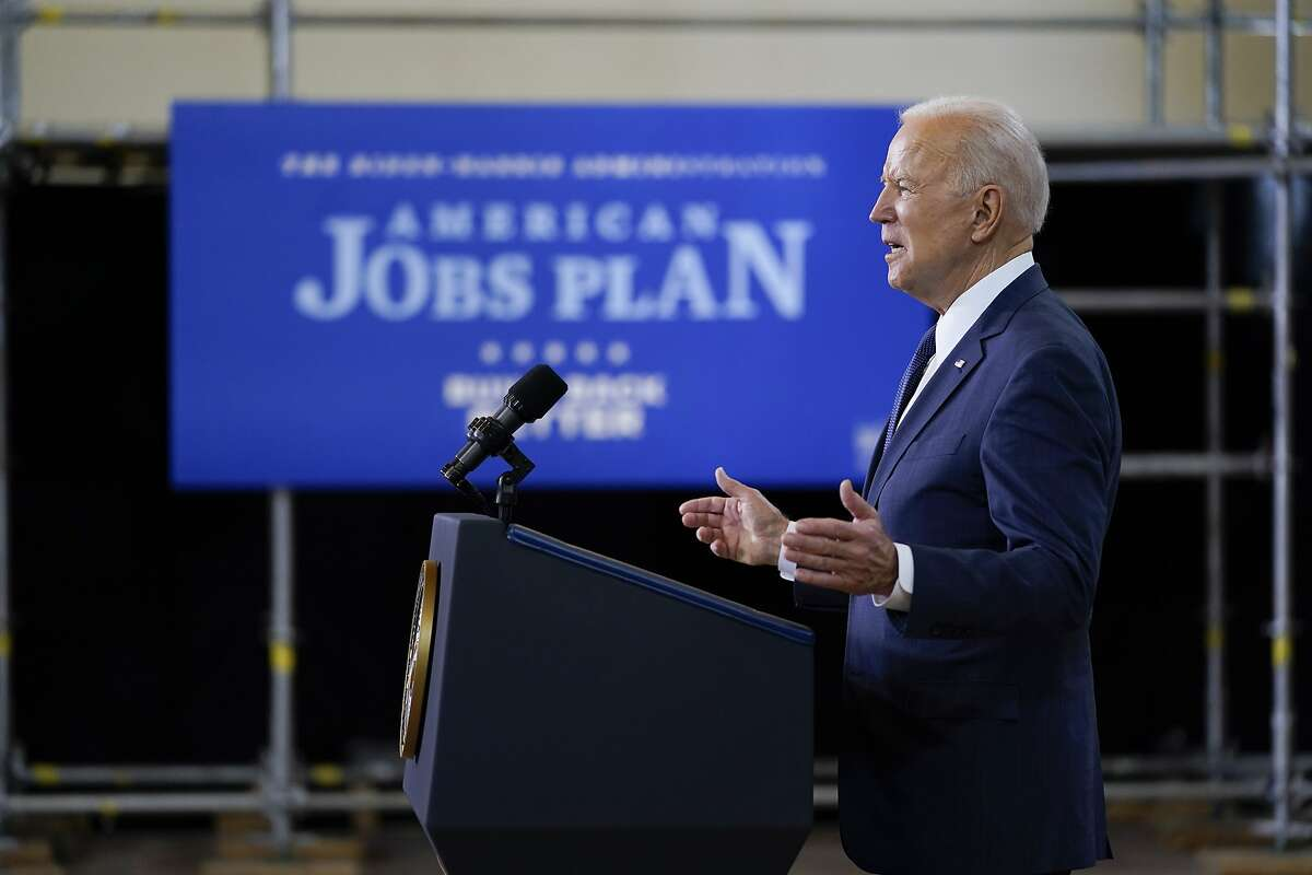 President Joe Biden delivers a speech on infrastructure spending at Carpenters Pittsburgh Training Center, Wednesday, March 31, 2021, in Pittsburgh. Biden's proposal would likely include a substantial amount of money for Bay Area and California transportation systems, but details are still forthcoming.
