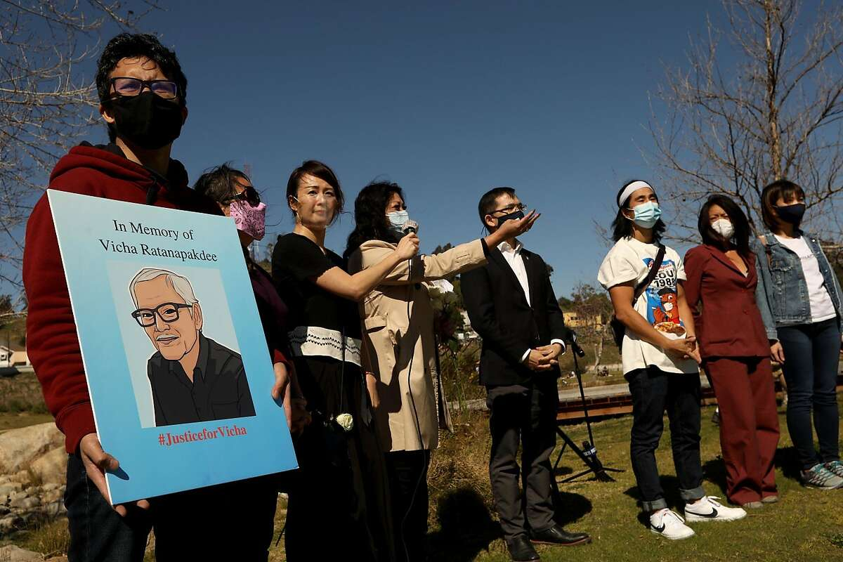 """Vicha Ratanapakdee, in poster, and other victims of anti-Asian violence, were remembered at a """"Rally Against Anti-Asian Hate Crimes & Racism"""" to raise awareness of anti-Asian violence at Los Angeles State Historic Park on Feb. 20, 2021. The rally was organized in part in response to last month's fatal assault of Vicha Ratanapakdee, an 84-year-old immigrant from Thailand, in San Francisco. The rally included hate crime survivors and local Asian elder community members. (Genaro Molina/Los Angeles Times/TNS)"""