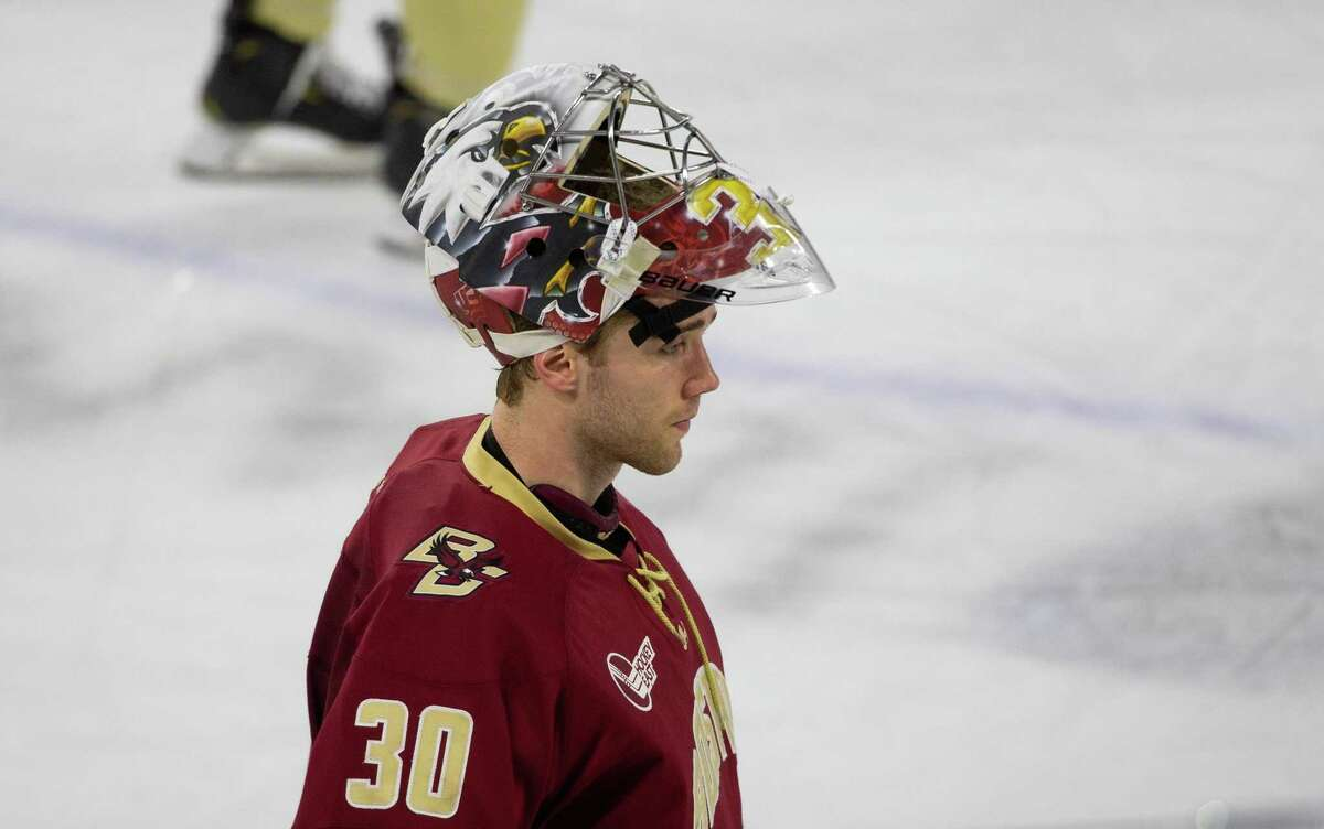 LOWELL, MA - FEBRUARY 13: Spencer Knight #30 of the Boston College Eagles tends goal against the Massachusetts Lowell River Hawks during NCAA men's hockey at the Tsongas Center on February 13, 2021 in Lowell, Massachusetts. The Eagles won 4-3 after trailing 2-0. (Photo by Richard T Gagnon/Getty Images)