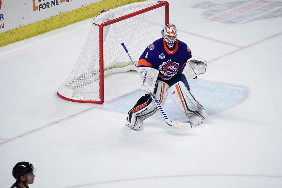 Bridgeport Sound Tigers goalie Cory Schneider keeps an eye on the puck during an AHL hockey game against the Providence Bruins on Wednesday, March 31, 2021 at Webster Bank Arena in Bridgeport, Conn.