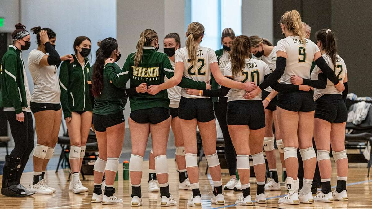 The Siena volleyball team advanced to the MAAC Tournament semifinals at Albany Capital Center when Fairfield had to withdraw because of COVID-19 on Wednesday, March 31. (Siena athletic communications)