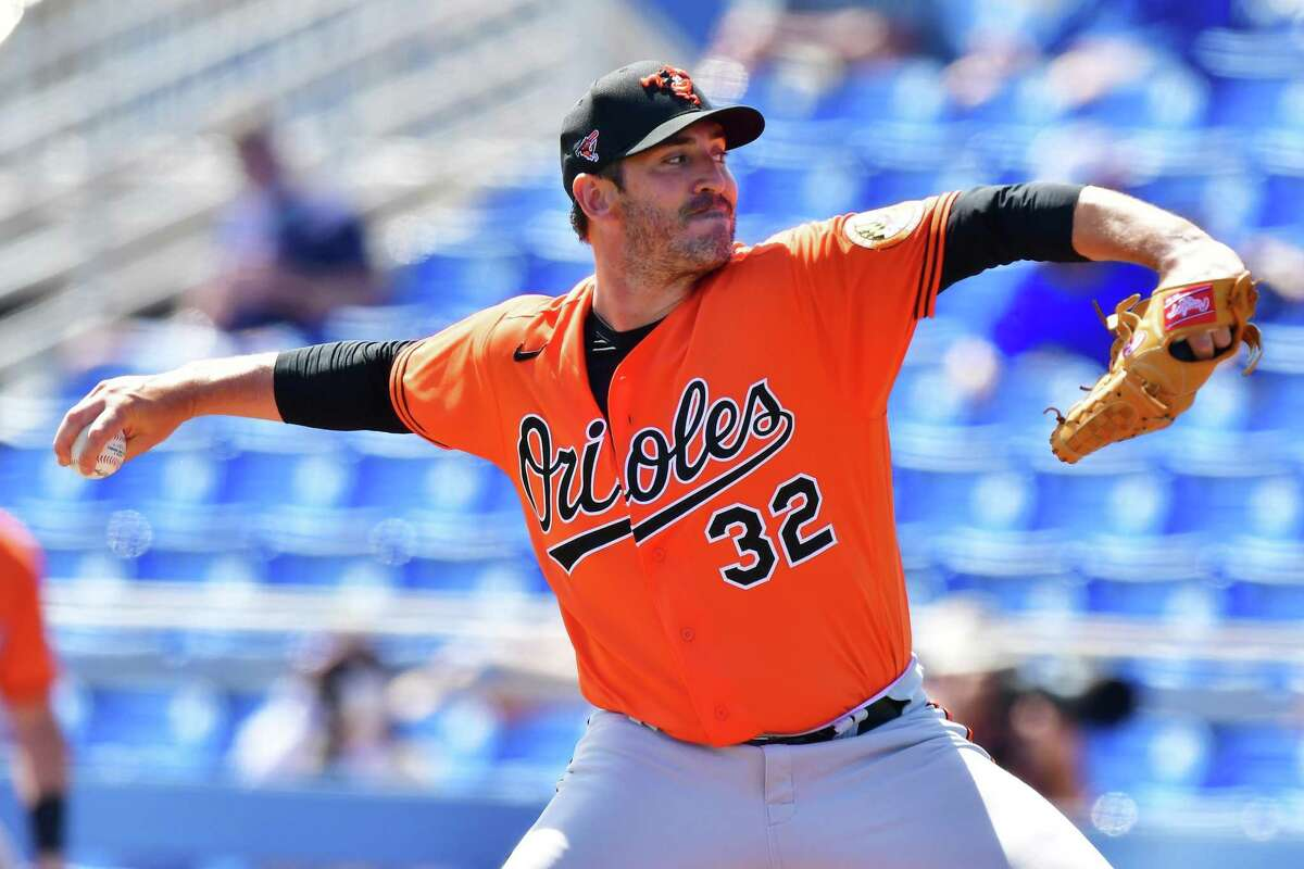 Baltimore's Matt Harvey pitches during a spring training game earlier this month in Florida. The former