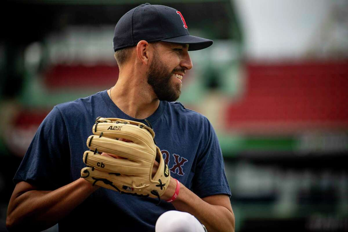 Red Sox relief pitcher Matt Barnes throws during a workout on Wednesday at Fenway Park in Boston. Former Bethel High and UConn standout was solid as the Sox' new closer most of last season, and appears in line to resume that role this season. A positive COVID-19 test rocked his world late last week, but it was deemed a