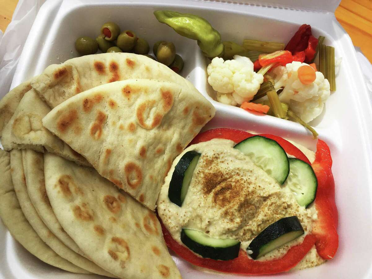 The hummus and pita plate at The New York Grill Express