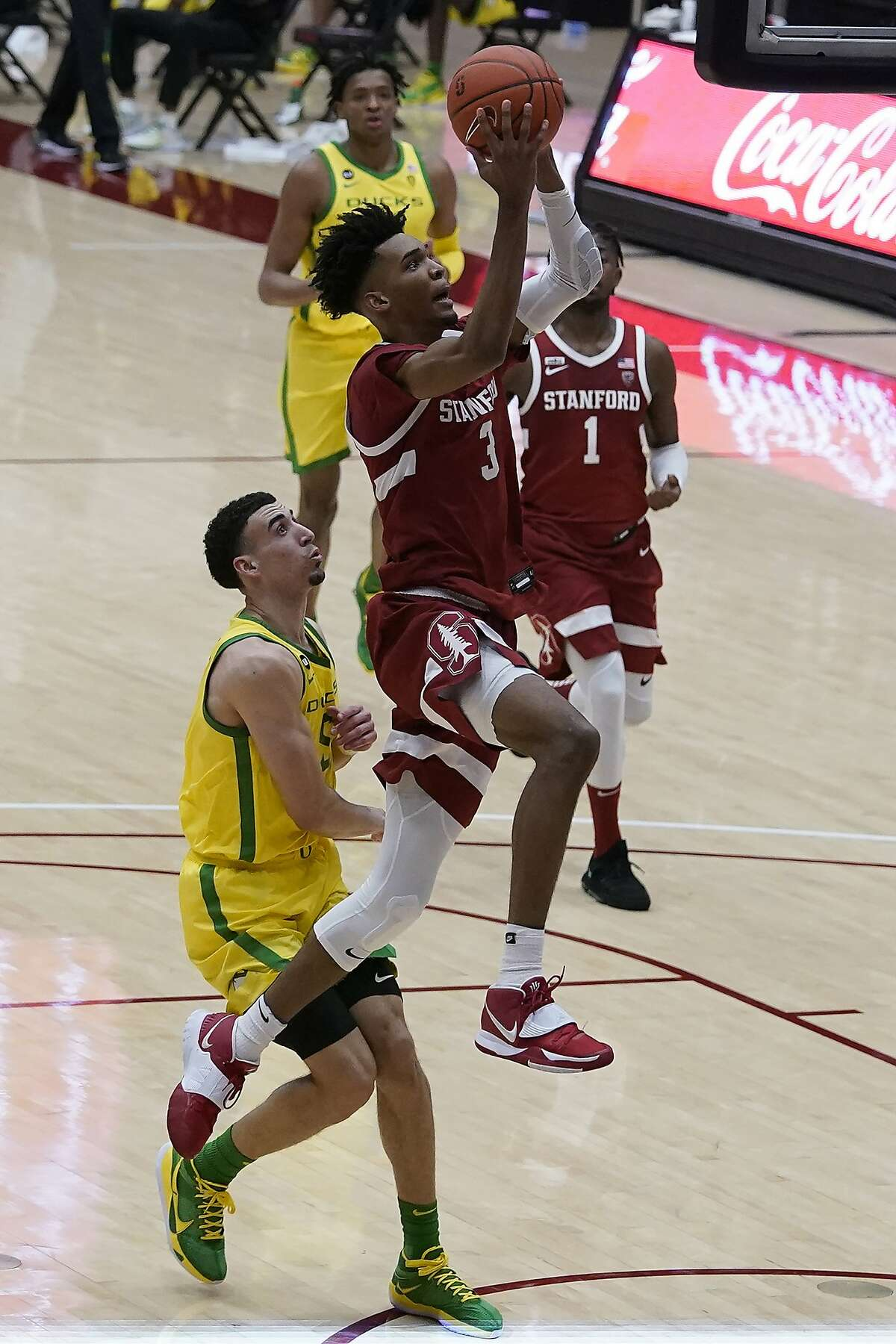 Stanford forward Ziaire Williams (3) shoots against Oregon during an NCAA college basketball game in Stanford, Calif., Thursday, Feb. 25, 2021. (AP Photo/Jeff Chiu)