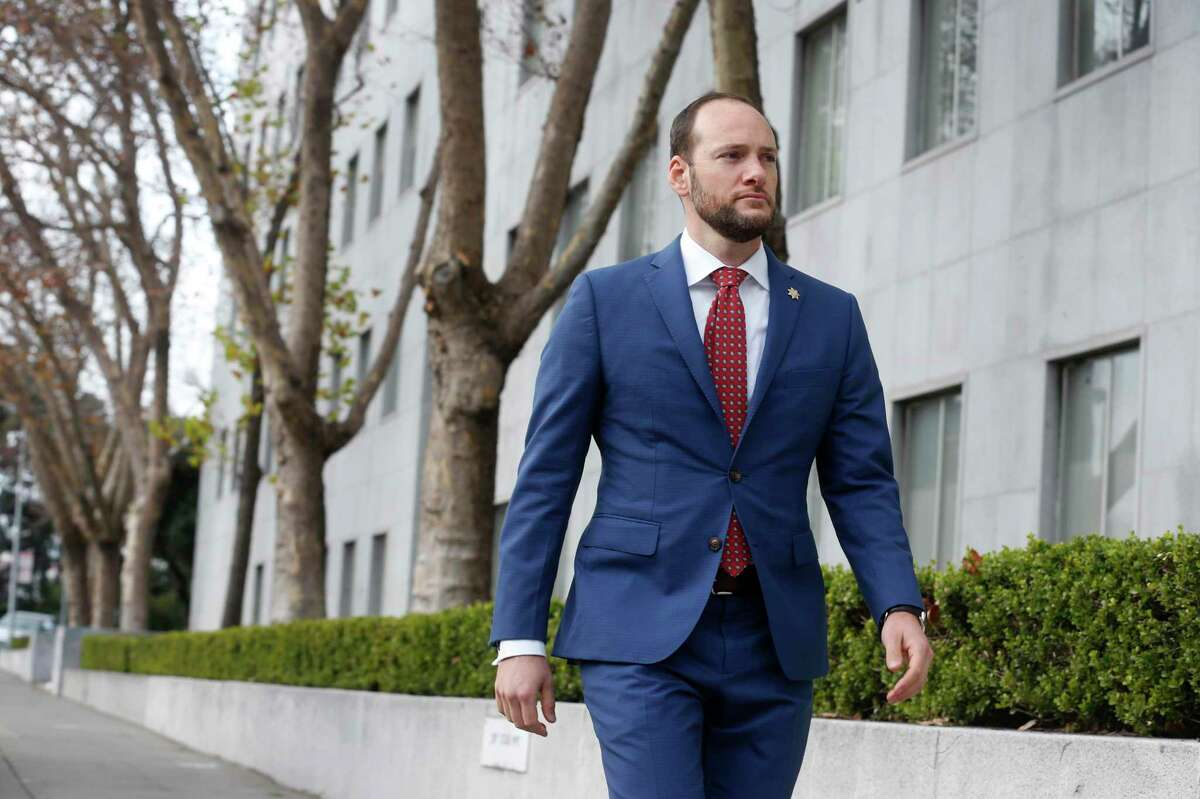 District Attorney Chesa Boudin is seen outside of the Hall of Justice in San Francisco. Boudin's office filed criminal and misdemeanor charges Tuesday against San Francisco sheriff's deputy Dominic Barsetti.