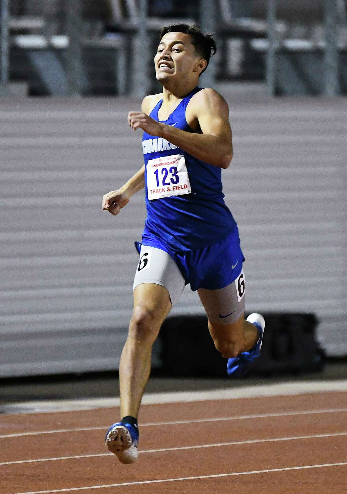 Gilbert Garcia competes in the 400-meter dash at Wednesday's District 30-5A meet. Garcia finished in 51.20 to win the event, and he also won the 800-meter run finishing in 2:02.76.