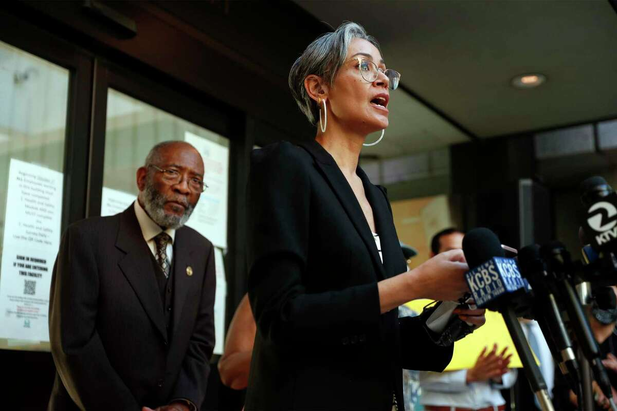 San Francisco's school district won't recoup the money spent to fight the $87 million lawsuit filed by school board member Alison Collins against the district and fellow board members, even though the case was tossed out by a federal judge before a first hearing. Collins is shown in a March 2021 file photo.