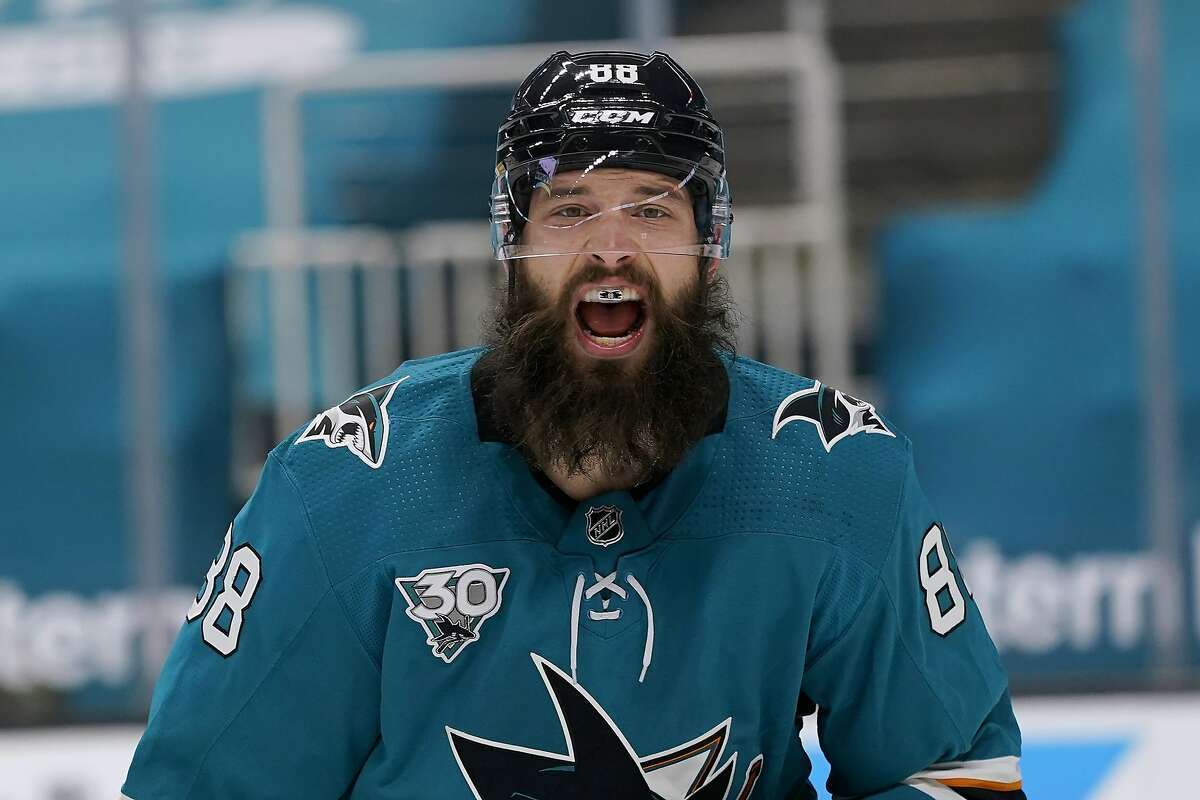 Sharks defenseman Brent Burns yells toward teammates during the second period of San Jose's 4-2 win over the Wild.