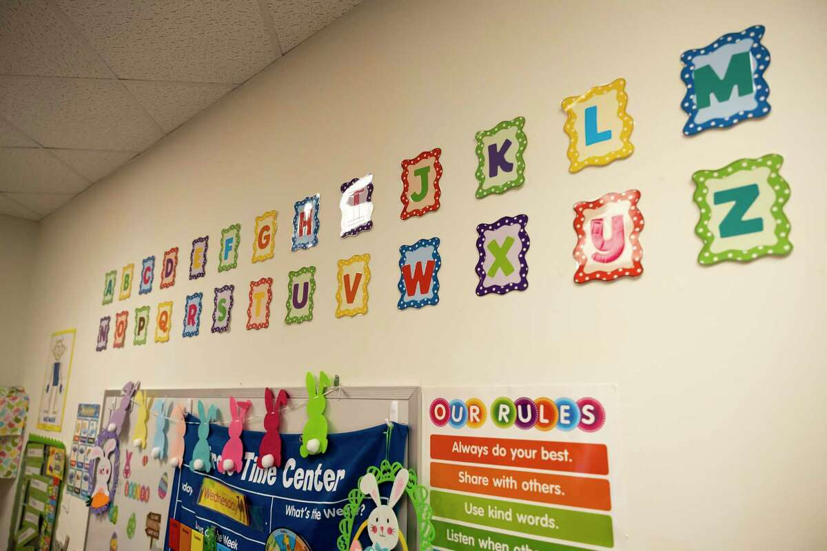 As seen, a pre-k classroom is decorated at Christ Church United Methodist, Wednesday, March 31, 2021, in The Woodlands. Discovery School of Innovation plans to move into the church this upcoming summer.