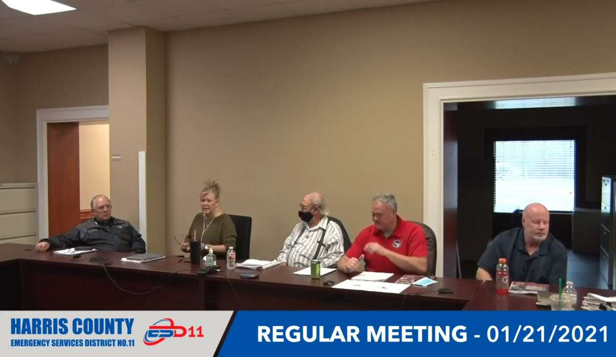 Harris County ESD No. 11 commissioners convene for their meeting Jan. 21, 2021.