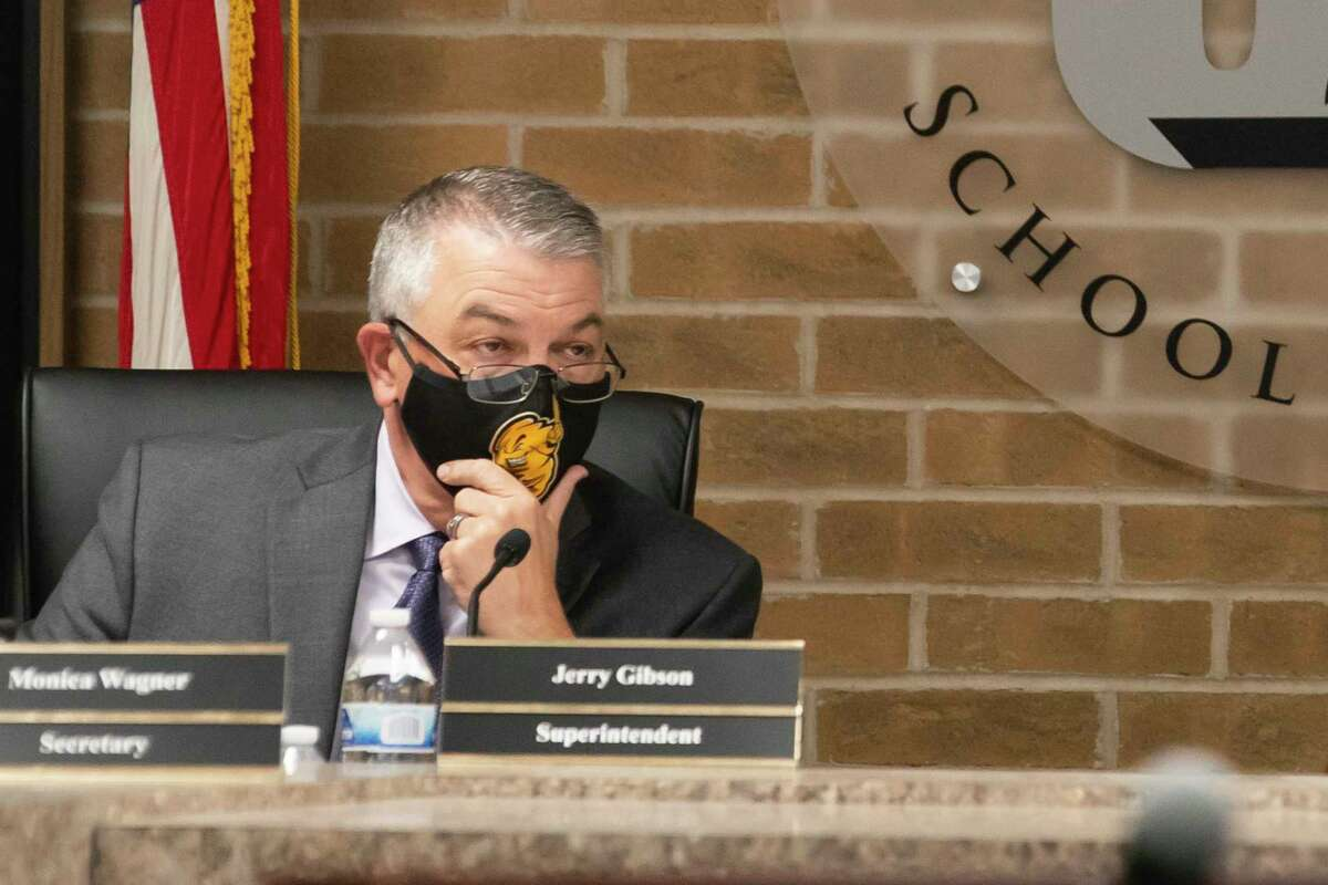 Superintendent Jerry Gibson listens at the beginning of a Galveston Independent School District school board meeting, Wednesday, March 31, 2021, in Galveston.