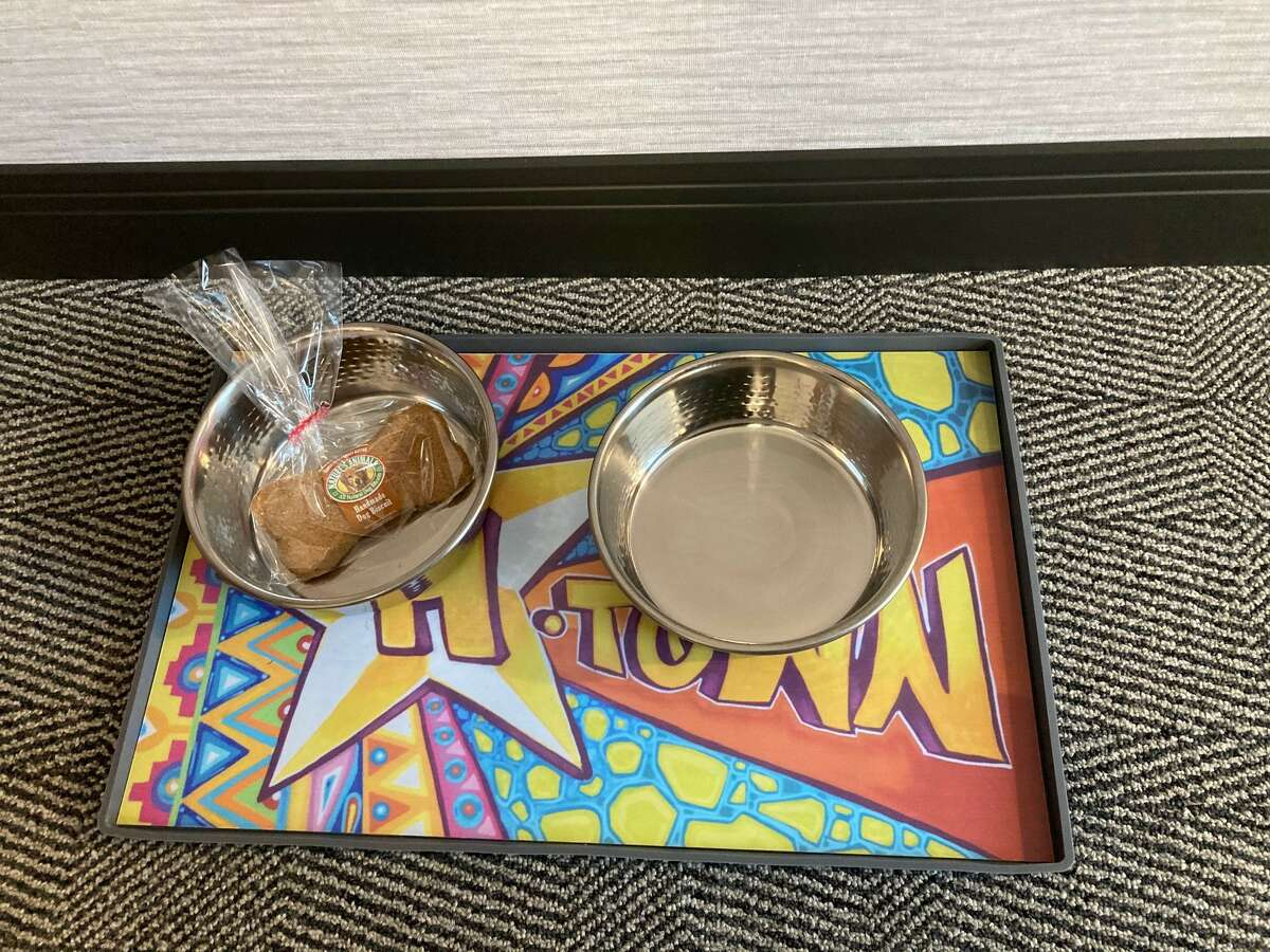 The Holiday Inn Express and Staybridge Suites hotel at 2351 W. Loop South is pet friendly and features local artwork.