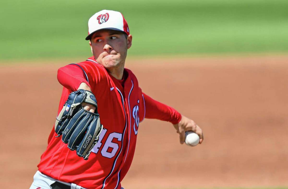 Nationals starting pitcher Patrick Corbin, shown pitching during spring training, needs to bounce back from his 2-7 record from last year's shortened season. He's among Washington's top starting pitchers.