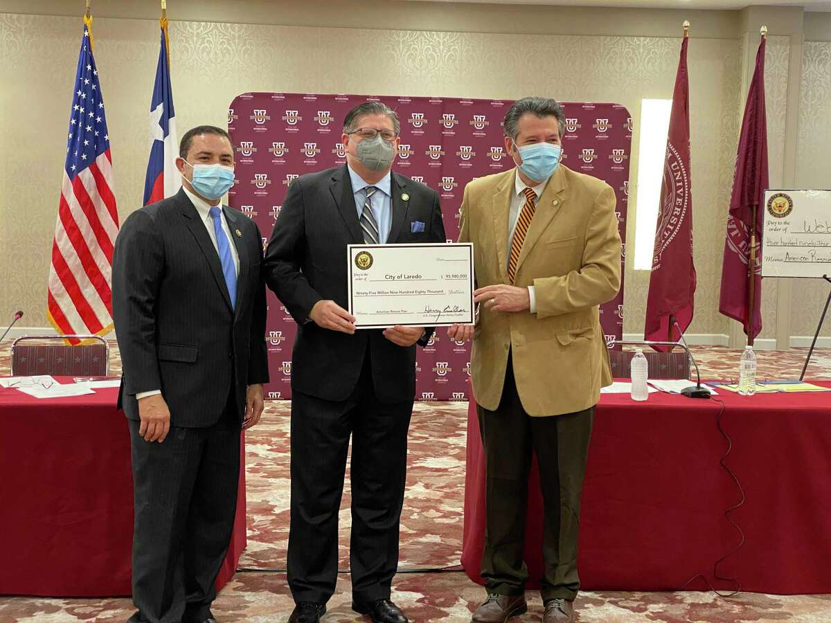 Rep. Henry Cuellar, Laredo Economic Development Director Teclo Garcia and Mayor Pete Saenz attended the conference regarding the American Rescue Plan funds allocation, along with other county leaders at the TAMIU Student Center Ballroom on Wednesday.