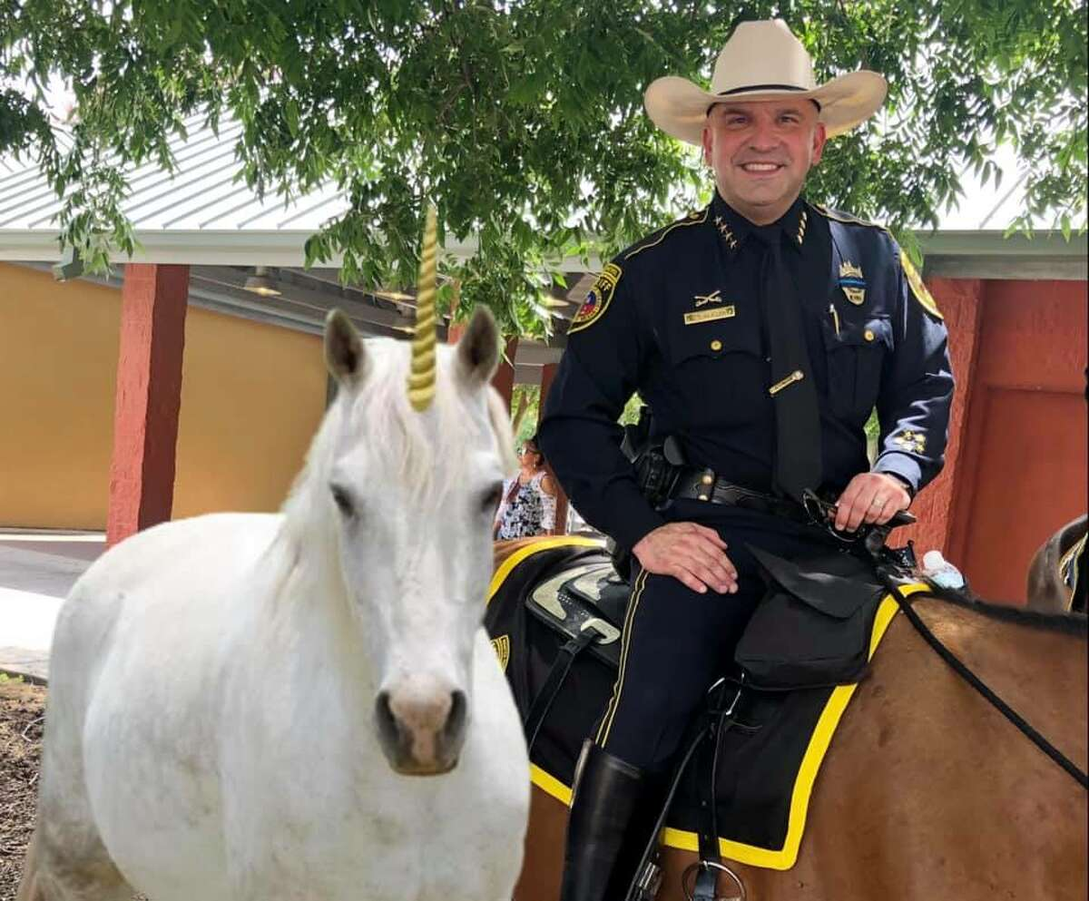 Bexar County Sheriff's Office shares this photo of Sheriff Salazer claiming a unicorn was seized by BCSO Mounted Patrol.