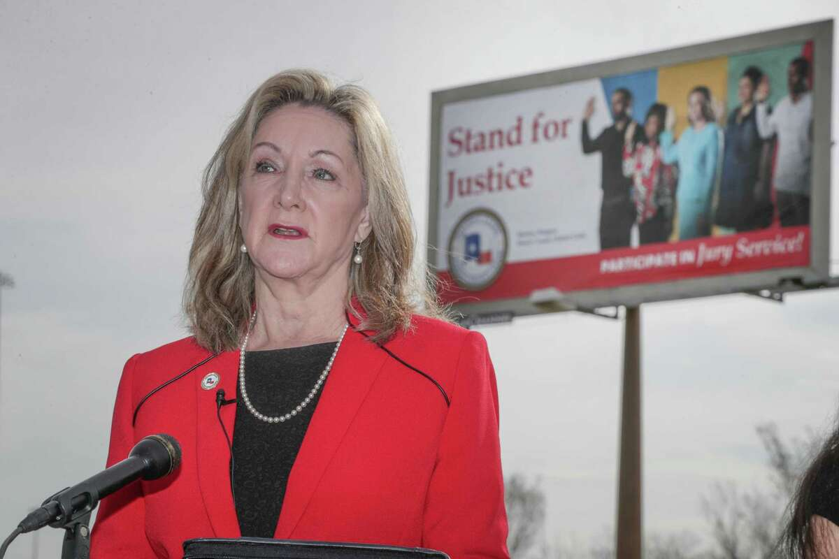 Harris County District Clerk Marilyn Burgess held a press conference to launch an outreach campaign to increase jury participation in Harris County Monday, Feb. 8, 2021, in Houston.