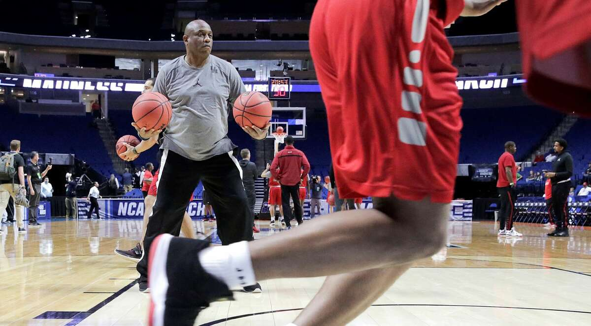 Houston Cougars assistant coach Alvin Brooks watches the University of Houston's Men's basketball team go through drills at BOK Center on Thursday, March 21, 2019 in Tulsa. The Cougars are taking on Georgia State University Panthers in the first round of NCAA Men's Tournament.