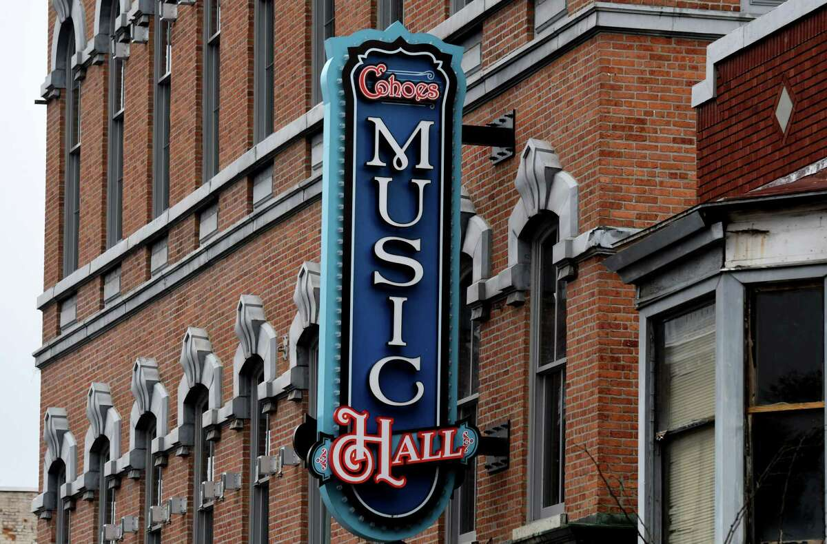 """Exterior of Cohoes Music Hall where the first Capital Region indoor theater production before a live audience in more than a year will be held on Thursday, April 1, 2021, in Cohoes, N.Y. The show is """"I Love You, You're Perfect, Now Change,"""" running April 30 to May 9 at the music hall. (Will Waldron/Times Union)"""