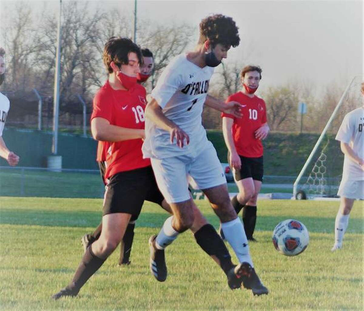 Alton's Justin Davison (18) scored in the first half of Wednesday night's game against Belleville East at Public School Stadium. He is shown Monday in action against O'Fallon at AHS.